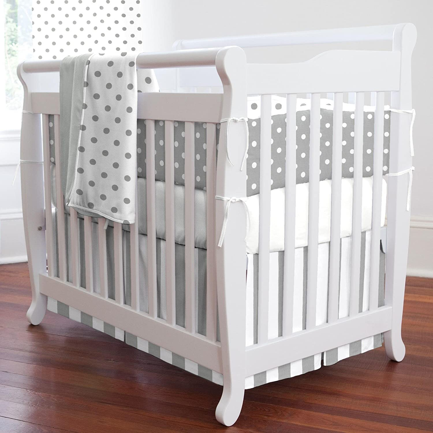 Carousel Designs White and Gray Stripe Mini Crib Skirt Box Pleat