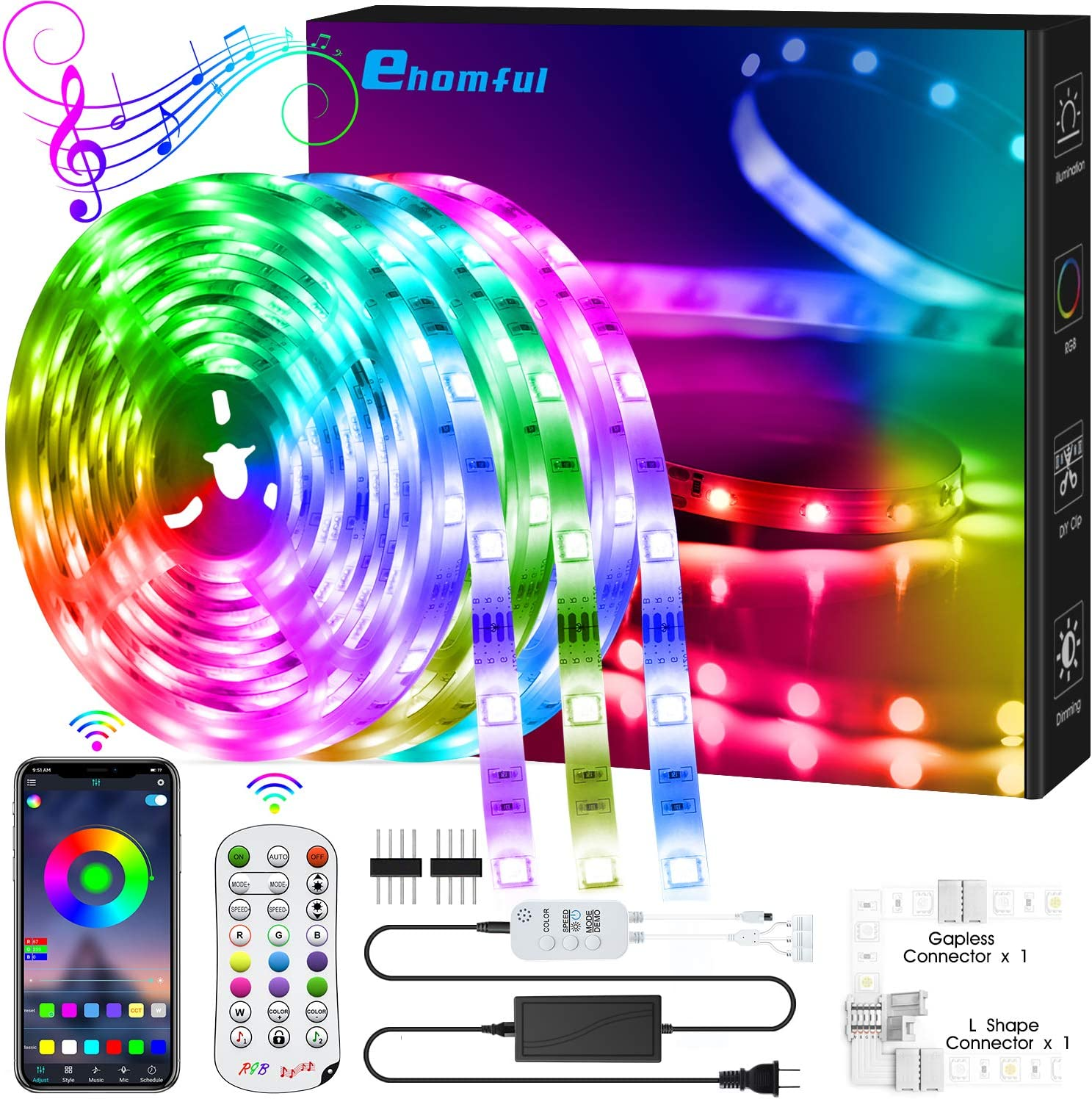 Amazon Com 40 Feet Led Strip Lights Color Changing Light Strip Music Sync App Remote Control 5050 Led Lights With Built In Mic Smart Led Lights For Bedroom Room Tv Party Diy Decoration Home