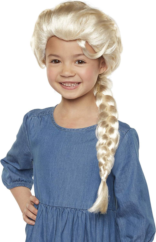 Blonde Wig Elsa Fancy Dress Costume Princess Frozen Beautiful Snow Queen Braid