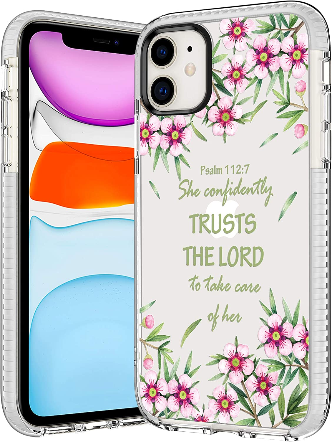 iPhone 11 Case,Women Girls Cute Bible Verse Quotes Psalm 112:7 Religious Inspirational Christian Soft Clear Back TPU Rubber Bumper Anti Scratch Protective Clear Case Cover Compatible with iPhone 11