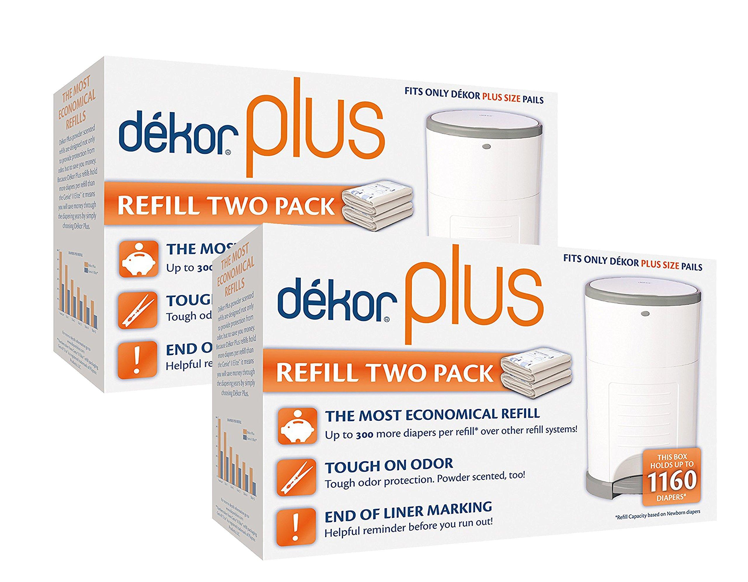 Diaper Dekor Plus Diaper Pail Liner Refills, 2 Pack