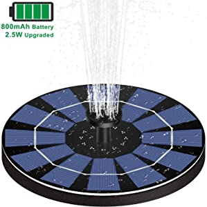 MADETEC Upgraded 2.5W Solar Water Fountain Pump with Battery Backup, Submersible Solar Fountain Panel Kit with 6 Spray Head for Bird Bath Small Pond Pool Garden and Lawn