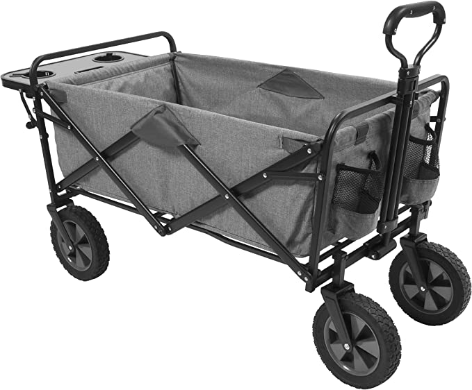 Open Box Red Grey Mac Sports Folding All Terrain Beach Wagon with Side Table
