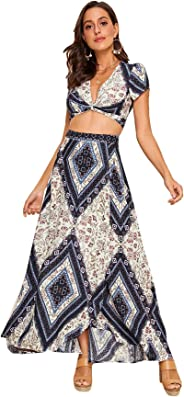 SheIn Women's 2 Pieces Boho Deep V Neck Twist Front Crop Top Wrap Maxi Skirt Set