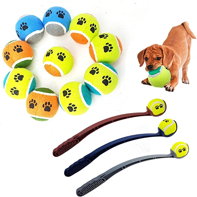 Pack DE 10 Pelotas de Tenis para Perros, Cachorros con Lanzador de Pelotas de Tenis Gratis: Amazon.es: Productos para mascotas