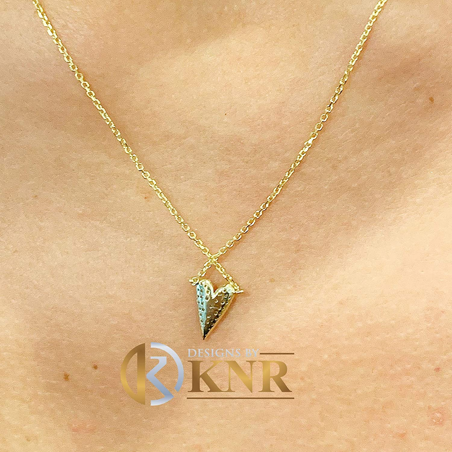 Dainty 14K Solid yellow Gold Round Cut Simulated Diamonds Heart Shape Pave Set Pendent Wedding Bridal Gift 0.20ctw