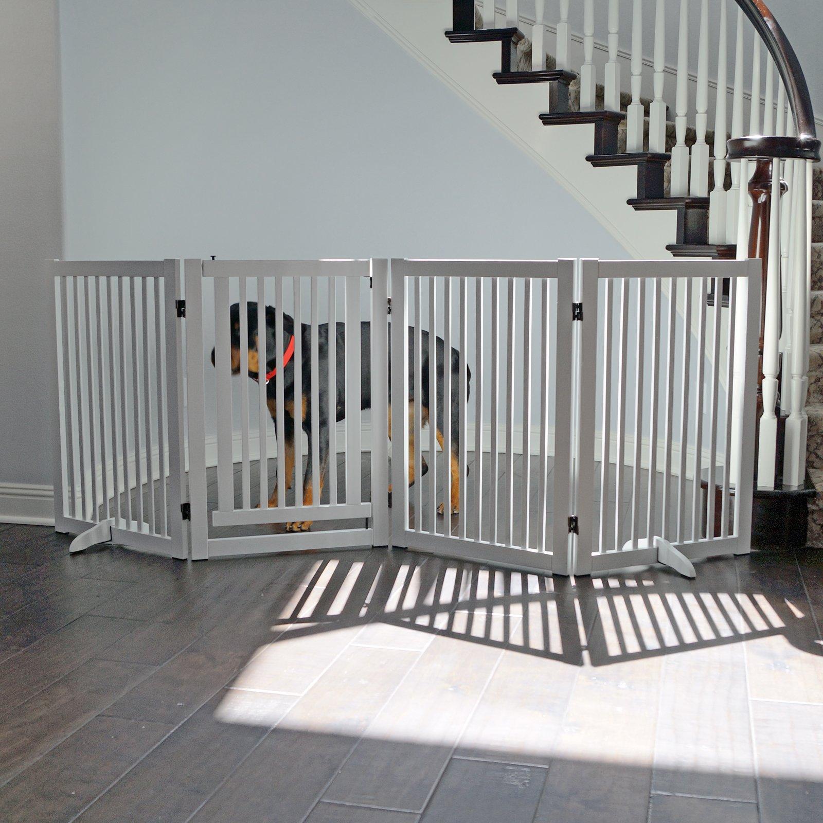 WELLAND Freestanding Wood Pet Gate w/ Walk Through Door, 88-Inch, White by WELLAND (Image #7)