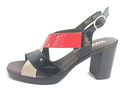 R8520v En Hecho Sandalia Negro Mujer Zapato Melluso Cuero Italia Tacón hQtrsCxd