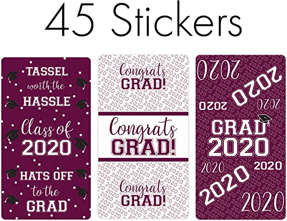 Round Candy Stickers 2020 Graduation Party Candy Favor Sticker Kit -304 Pieces Silver Tassel Worth The Hassle Mini Candy Bar Wrappers