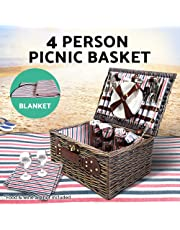 Deluxe 4 Person Picnic Basket Baskets Outdoor Corporate Gift Blanket Park