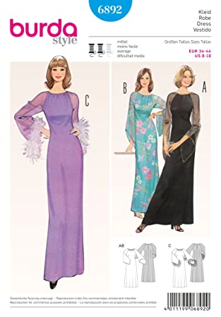 Amazon.com: Burda Vintage Style Dress Sewing Pattern 6892