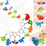 Mini Dinosaur Birthday Party Favor Bracelets Keychains Goodie Bag Fillers, 32pc Set