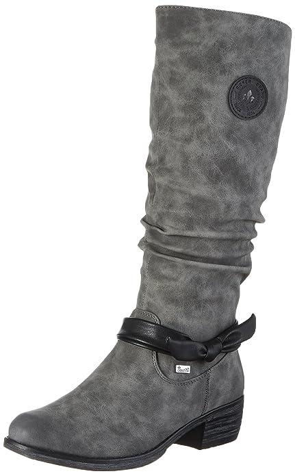 Rieker 93655 Damen Langschaft Stiefel Schwarz (schwarz