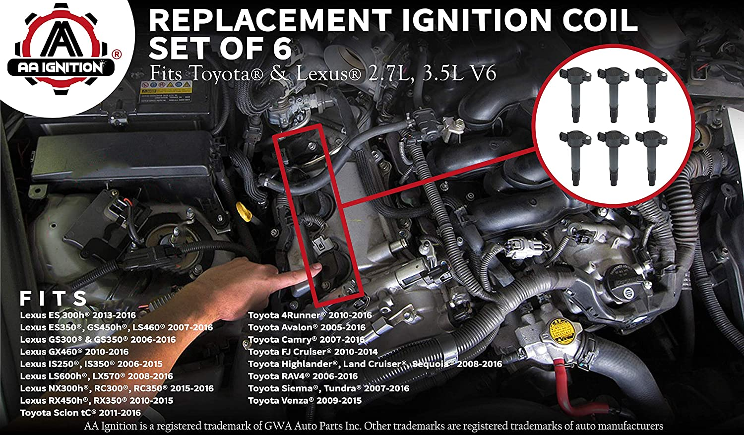 6 PCS Ignition Coil Pack for 6 /& 4 cyl eng AVALON CAMRY ES350 HIGHLANDER IS350 RAV4 RX350 RX450H SIENNA VENZA