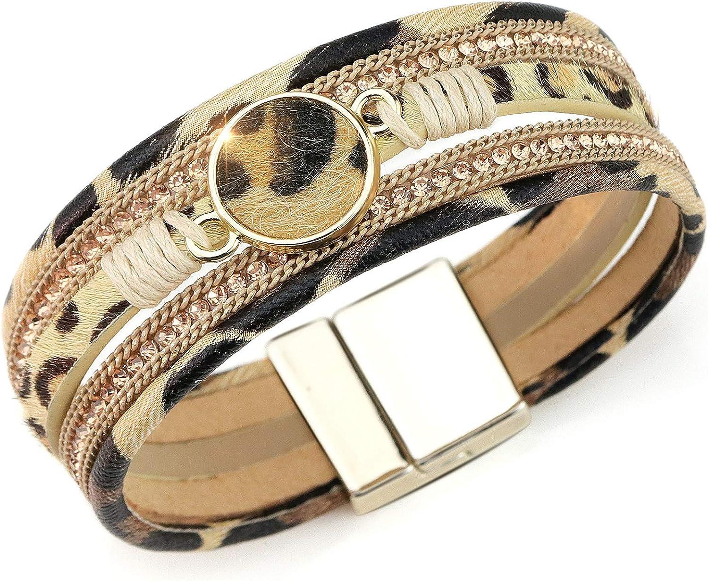 Suyi Pulsera De Piel De Leopardo para Mujer Pulsera De Cristal Multicapa con Hebilla Magnética