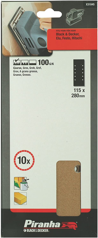 115 x 280mm Black+Decker X31045-XJ Grano 100. 1//2 10 hojas de lija perforadas