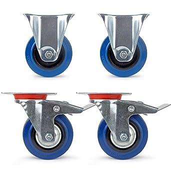 2 Ruedas fijas + 2 ruedas giratorias con freno Ruedas de transporte para industria, ruedas