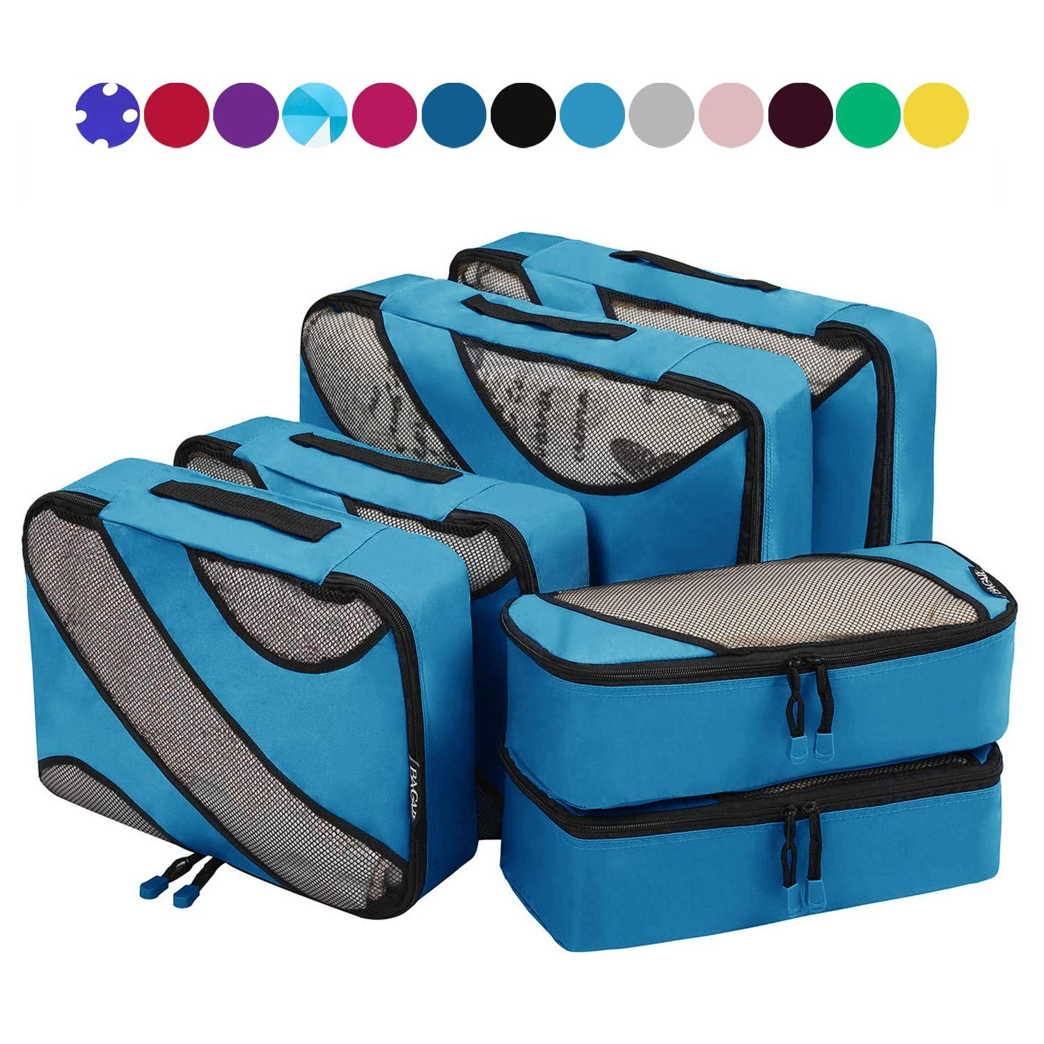 6 Set Packing Cubes,3 Various Sizes Travel Luggage Packing Organizers Blue by BAGAIL (Image #2)