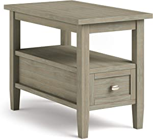SIMPLIHOME Warm Shaker SOLID WOOD 14 inch Wide Rectangle Rustic Narrow Side Table in Distressed Grey