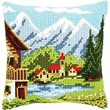 Vervaco - Cuscino decorato ricamato a mezzo punto, soggetto: villaggio alpino