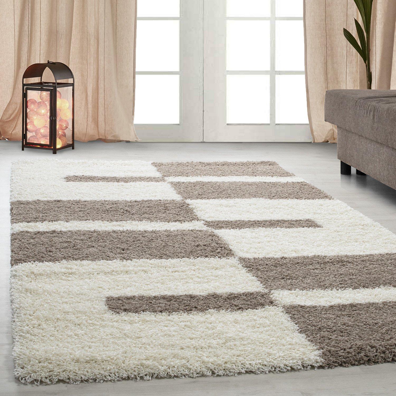 Carpetsale24 Hochflor Shaggy Teppich für Wohnzimmer Langflor Pflegeleicht Schadsstof geprüft Teppiche Streifen Oeko Tex Standarts, Farbe Beige, Maße 240x340 cm