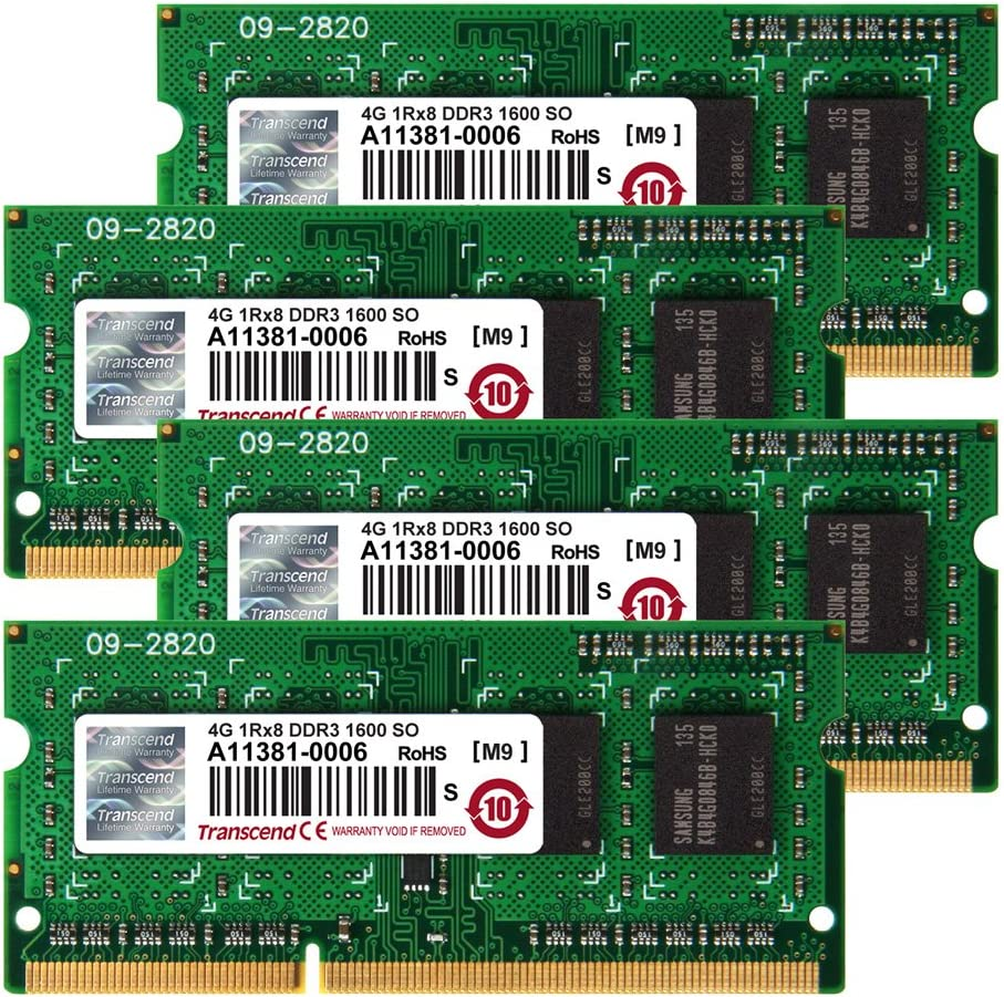 8GB x 4 Kit JetMemory DDR3-1600 SO-DIMM 2Rx8 iMAC Mid 2011 Late 2012 Transcend 32GB TS32GJMA524H