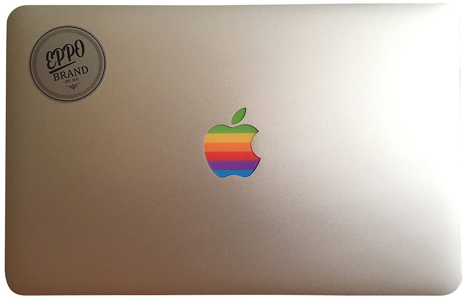 Amazon com eppo brand rr 12 6 11 design art apple old retro rainbow multicolour logo sticker decal for 11 13 15 inch macbook pro air laptop with glowing