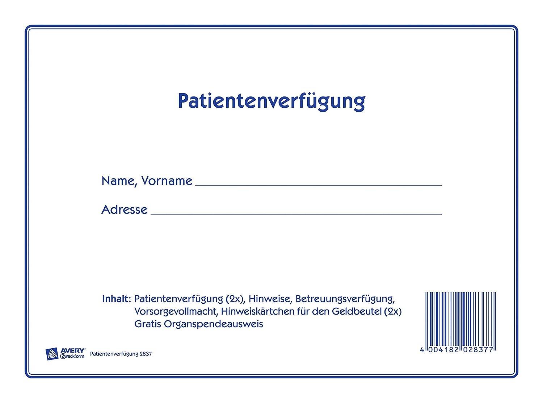 Avery Zweckform 2837 Patientenverfügung 2838 Testament Doppelset
