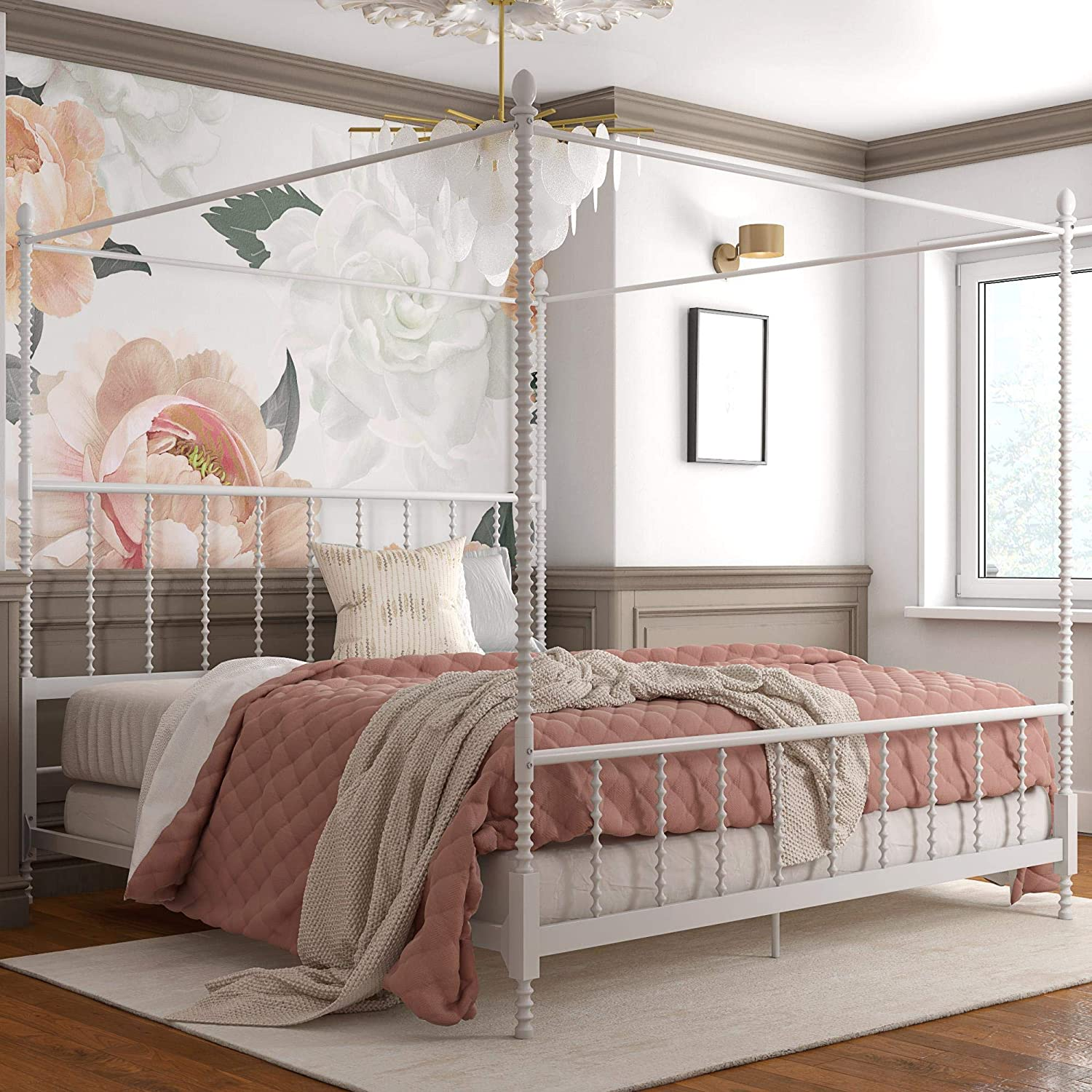 - Amazon.com: DHP Jenny Lind Metal Bed, 4 Post King Size Frame