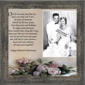 Crossroads Home Décor 60th, Diamond 60th Wedding Anniversary Grandparents Gifts, for Grandparents, 60th Anniversary Card for Parents, Picture Frame for Couples, 6782BW