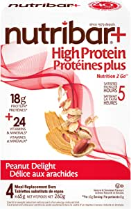 Nutribar Original Nutribar+ High protein meal Replacement Bars, Peanut Delight, 4 Bars 4 count