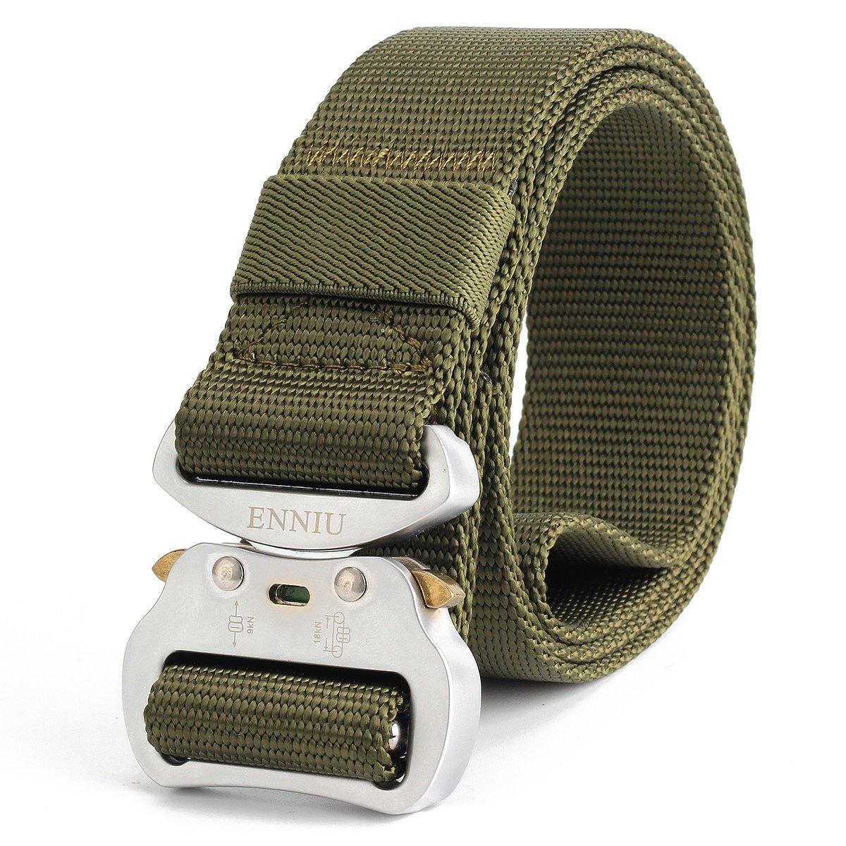 ReFire Gear Mens Quick Release Military Tactical Belt Heavy Duty Sliver Metal Buckle Nylon Web EDC Belts