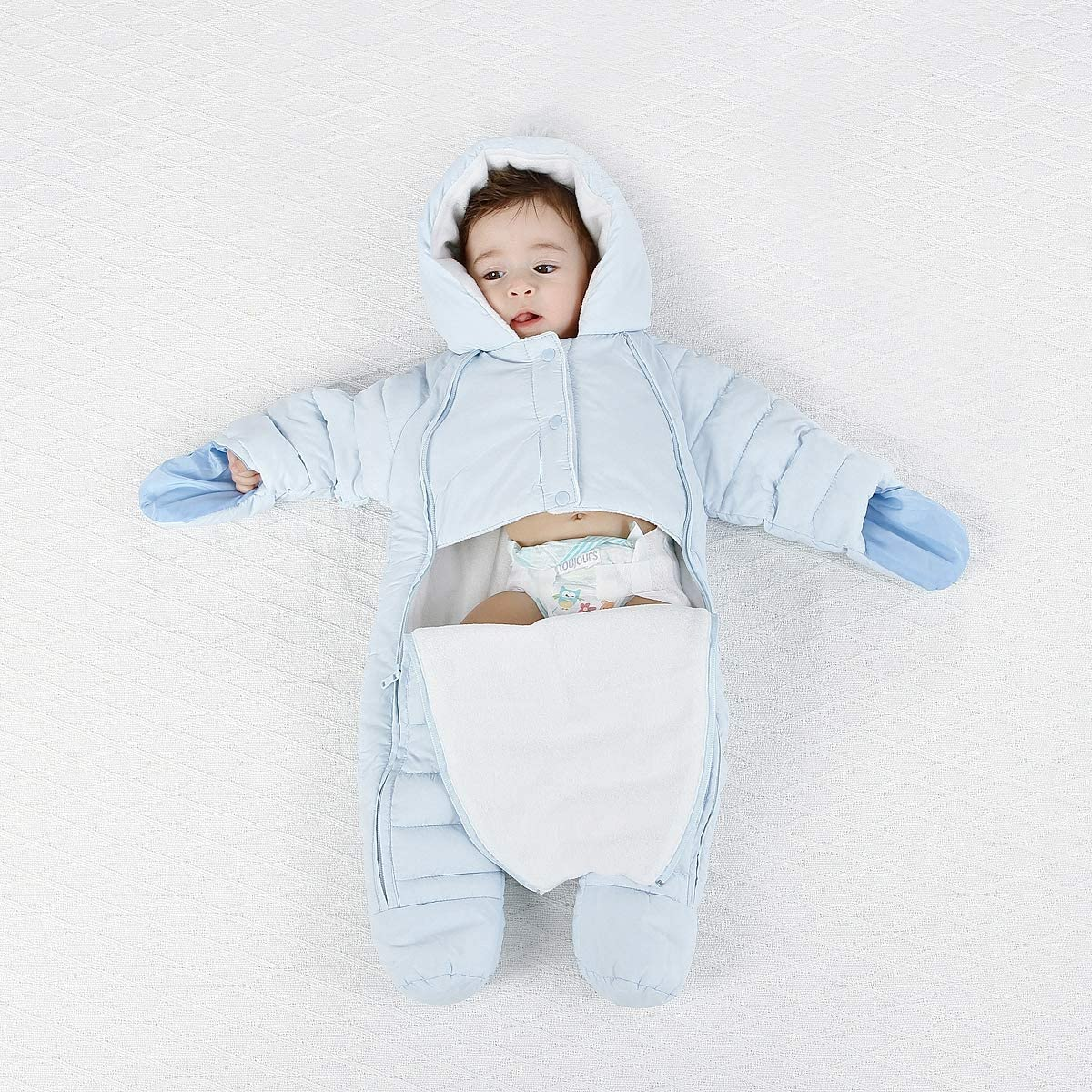Ohrwurm Baby Footed Jumpsuit Pram Double Zipper Bunting Winter Outerwear Jacket Coat Newborn Toddler Costume
