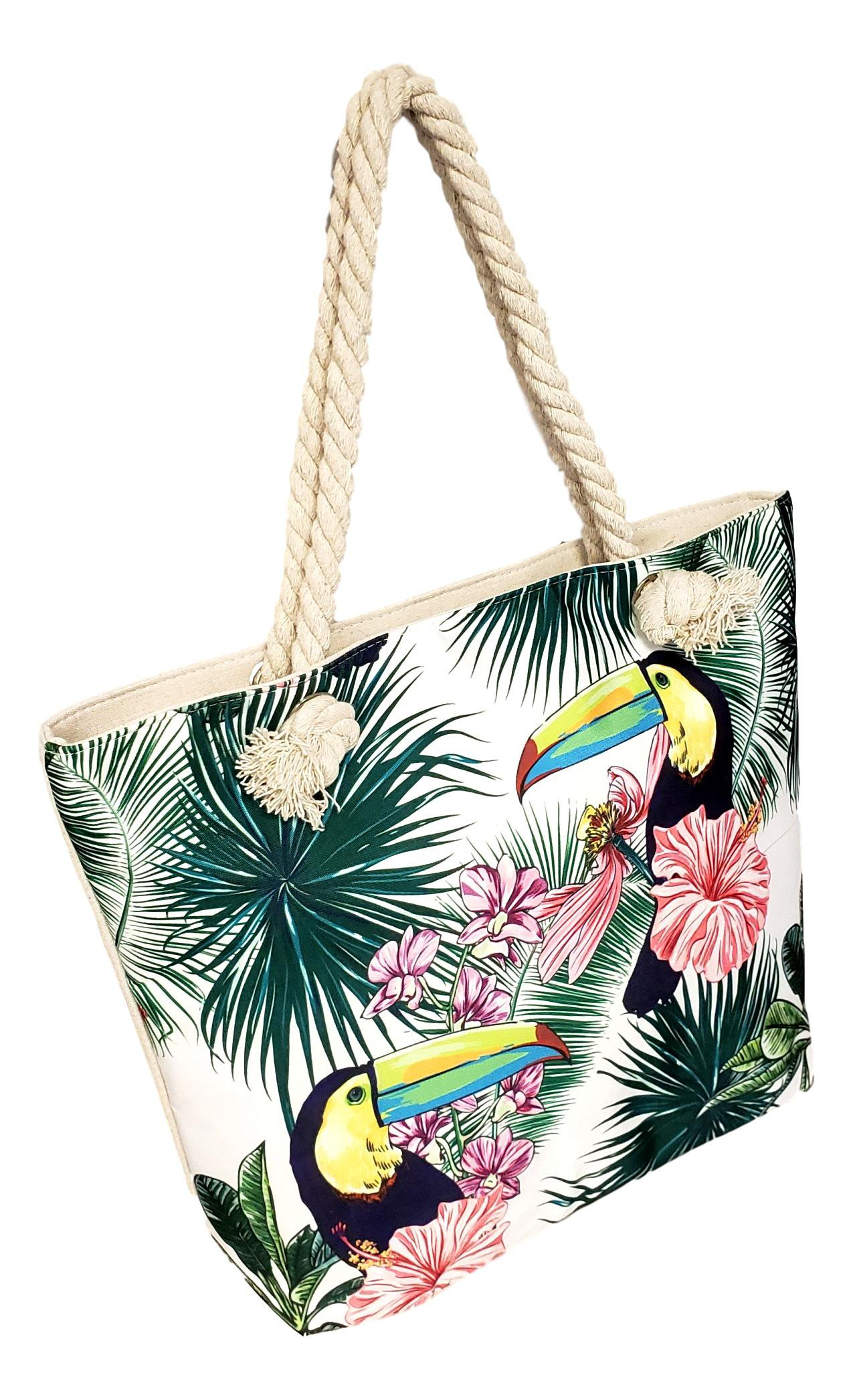 Summer Prints Medium Sized Zipper Top Canvas Beach Bag Tote (Tropical Toucans)