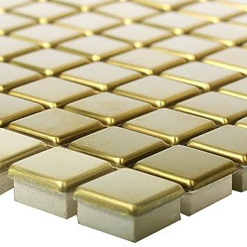 Mosaikfliesen Edelstahl Metall Baikal Gold   Wand Bad Küchenspiegel ...