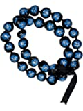 Barbra Collection Hawaiian Style Kukui Nut Lei Hibiscus Hand Painted Turquoise Flower 32 Inches