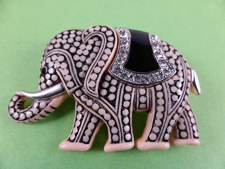 Alexandra Fischer Brosche//Anstecknadel//Pin Elefant Glitzer Gl/ück Indien R/üssel Afrika Zoo B237