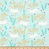 Michael Miller Sarah Jane Magic Metallic Unicorn Forest Aqua Fabric By The Yard