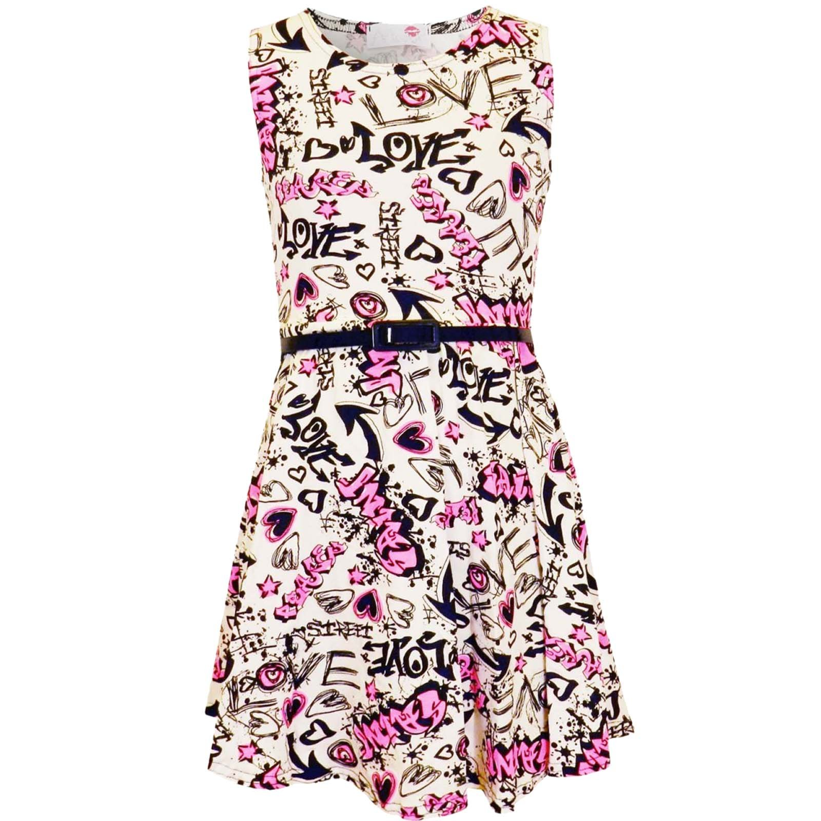 KIDS GIRLS NEW LOVE COMIC GRAFFITI PRINT LEGGING SKATER MIDI DRESS CROP TOP 2-13