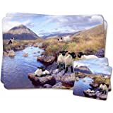 Border Collie on Sheep Watch Twin Coaster and Placemat Set, Ref:AS-24PC