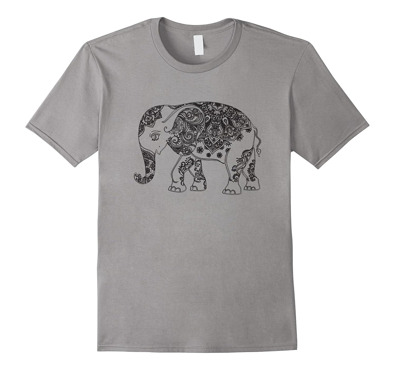 Happy Indian Elephant - Mandala Yoga T-Shirt-BN