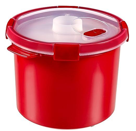 Curver - Vaporera Smart Micro Multi Función 3L. - Apta para Microondas - 2 en 1 para Cocinar al Vapor Verduras y Arroz - Color Rojo