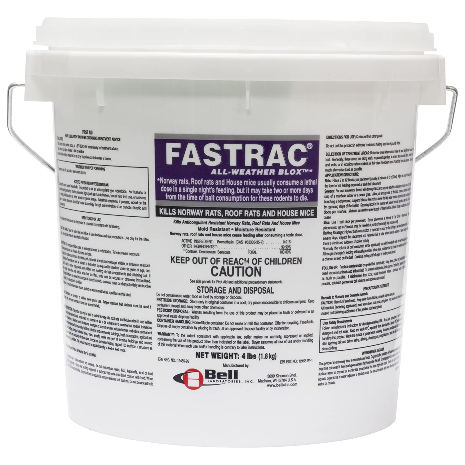 Fasttrac Blox, Fastrac Rodenticide 4lb pail BELL LABS