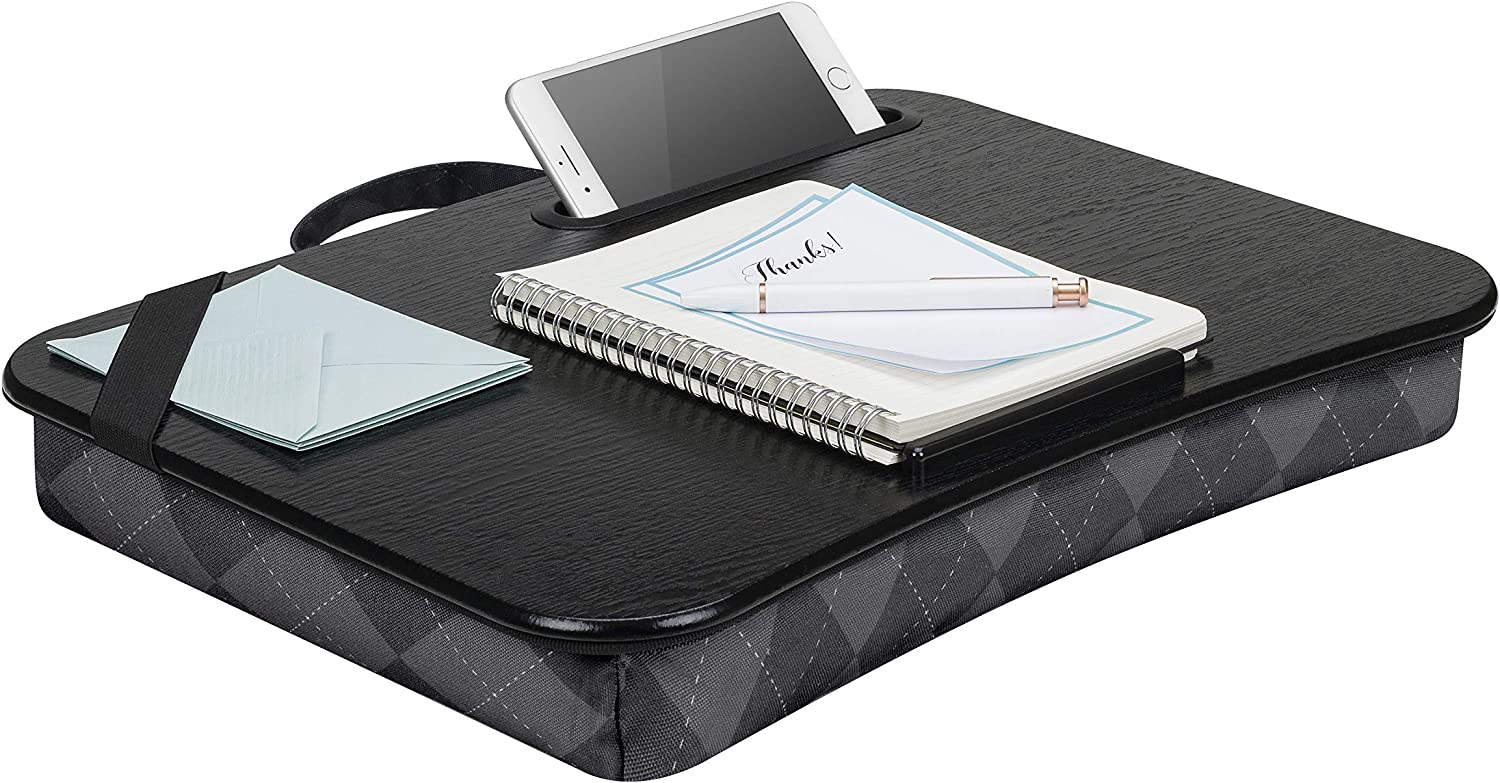 LapGear Designer Lap Desk with Phone Holder and Device Ledge - Gray Argyle - Fits up to 15.6 Inch Laptops - Style No. 45438