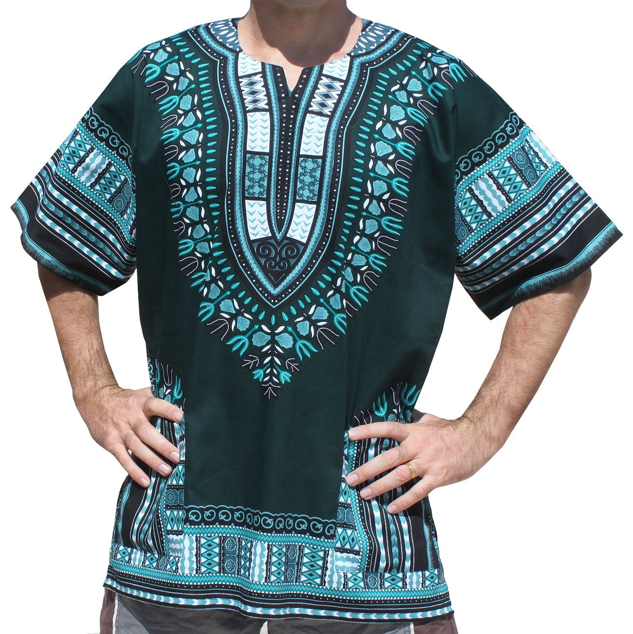 RaanPahMuang Unisex Bright Coloured African Dashiki Cotton Plus Shirt, XXX-Large, Phthalo Green by Raan Pah Muang (Image #1)