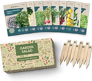 Certified Organic Vegetable Seeds - 9 Heirloom Seeds for Planting Vegetables - Seed Packets & Gift Box - Cherry Tomato, Romaine Lettuce, Broccoli, Cucumber, Radish, Sugar Snap Pea, Arugula, Basil