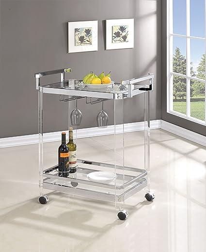 Amazon Com Coaster Home Furnishings 3 Wine Rack Serving Cart
