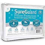 Set of 2 King Size SureGuard Pillow Protectors - 100% Waterproof, Bed Bug Proof, Hypoallergenic - Premium Zippered Cotton Terry Covers - 10 Year Warranty