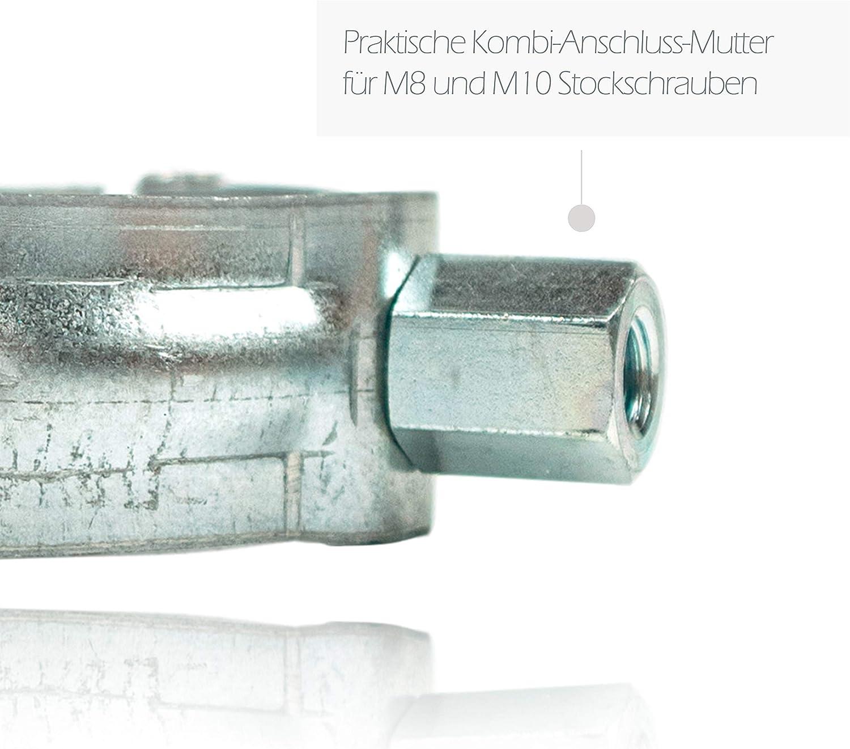 Zink Alu /& Edelstahl Regenrohre Schraubrohrschelle verzinkt zur Befestigung von Fallrohren am Geb/äude f/ür Verzinkte 6er Set Fallrohrschelle feuerverzinkt 120 mm mit M8//M10 Gewindeanschluss