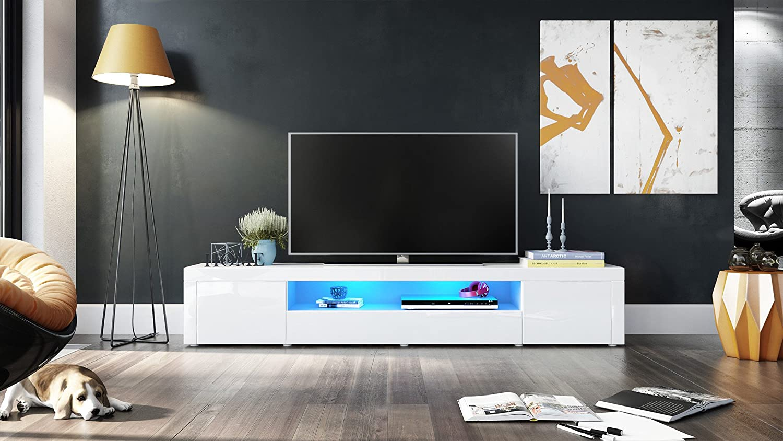 Meuble Tv Armoire Basse Santiago V2 Corps En Blanc Haute  # Armoire Basse Tele